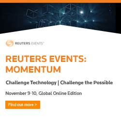 Article about Reuters Events launch MOMENTUM Virtual Forum, November 9-10 featuring C level technologists across big tech and business