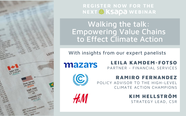 Webinar: Walking the talk - Empowering Value Chains to Effect Climate Action organized by Ksapa